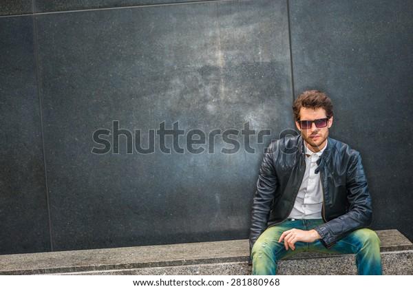 Dressing Black Leather Jacket Unbuttoned White Stock Photo
