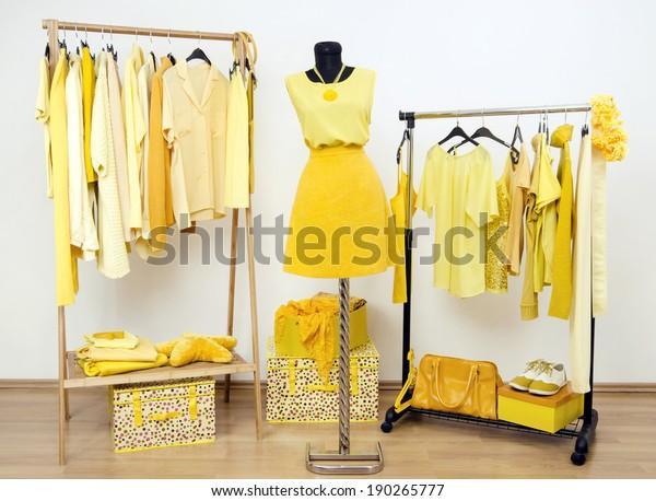 ハンガーに黄色い服を、マネキンに衣装をつけた着付けクローゼット。黄色い服、靴、アクセサリーなど、あらゆる色合いの服がそろっている服。