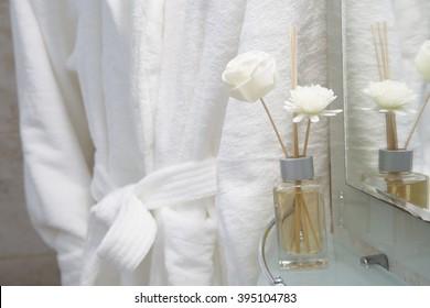 dressing gown in bathroom