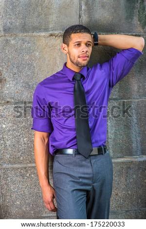 purple dress shirt black pants