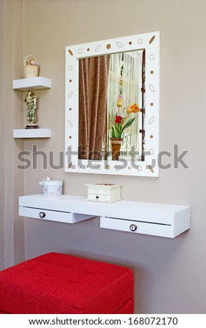 vanity table small space hidden storage dressing table corner for small space in brown room interior closeup dressing table corner small space brown stock photo edit now