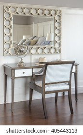dressing table in luxury bedroom interior with wooden chair and miror