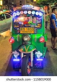 dressing Tuk Tuk in Yauwaraj road Bangkok wait for tourist 5 August 2018