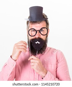 Dressing well makes you seem more intelligent. Man bearded hipster cardboard top hat and eyeglasses to look smarter white background. Guaranteed ways appear smarter. Tricks to seem more intelligent.