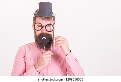 Dressing well makes you seem more intelligent. Tricks to seem more intelligent. Man bearded hipster cardboard top hat and eyeglasses to look smarter white background. Guaranteed ways appear smarter.