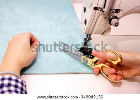 Dressmaker Working Sewing Machine Cutting Thread Stock Photo Edit Magnificent How To Thread Dressmaker Sewing Machine