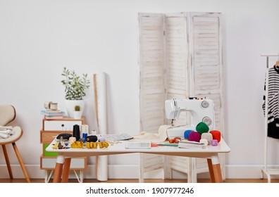 Dressmaker's workshop with copy space