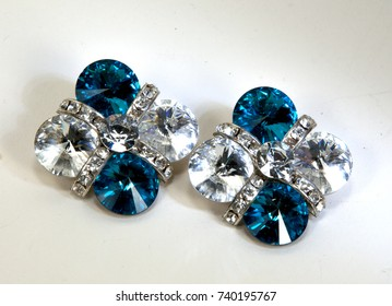 Dressy turquoise and white clip on glass earrings