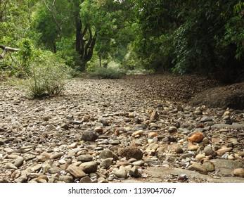 Dried Aghanashini river tributary during summer, Uttar Kannada district in Indian state of Karnataka
