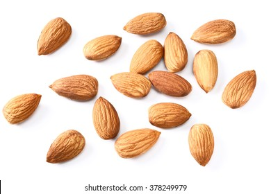 dried almond on white
