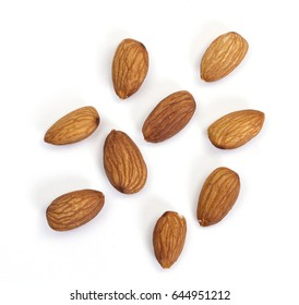 dried almond on the white backgound