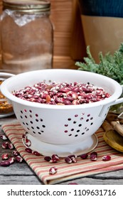 Dried Anasazi beans in a colander ready to wash. Also called Appaloosa beans. Phaseolus vulgaris