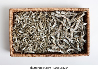 dried anchovies in basket
