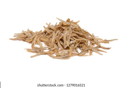 Dried anchovies fish isolated on white background.