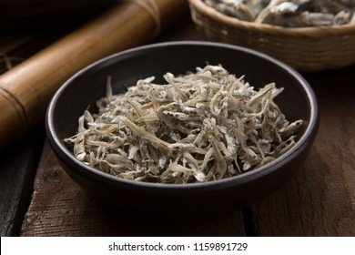 Dried anchovies on table