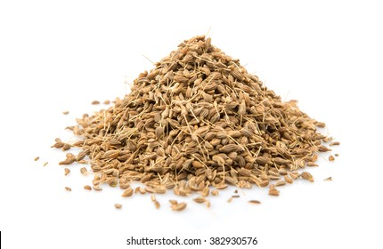 Dried anise seed or aniseed over white background