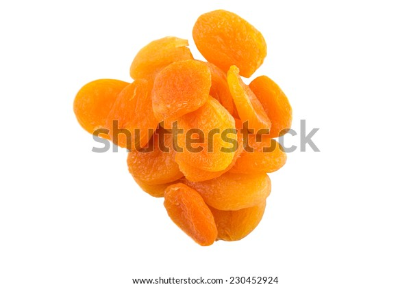 Dried apricot fruit over white background