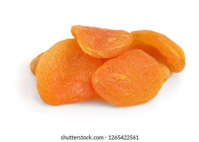 Dried apricots isolated on white background closeup