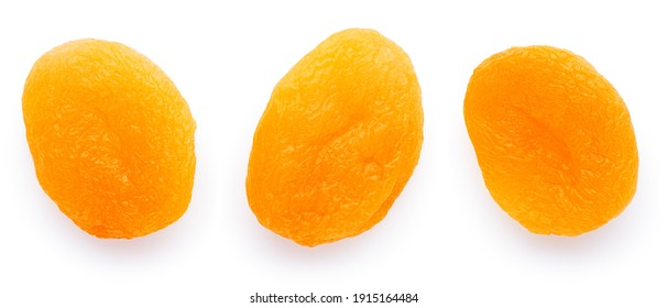 Dried apricots isolated on white background. With clipping path.