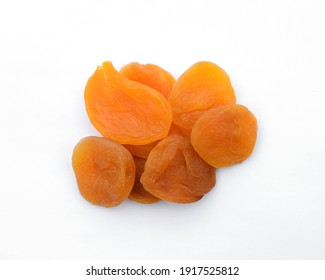 Dried apricots isolated on white background.