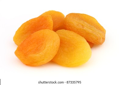 Dried apricots in a white background
