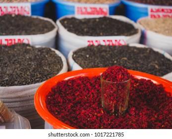 Dried barberry on Tbilisi city market, dezerter bazaar, Georgia. Horizontal photo - Shutterstock ID 1017221785