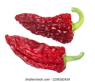 Dried Basque Gorria Espelette-type chile peppers, whole pods (C. annuum), top view
