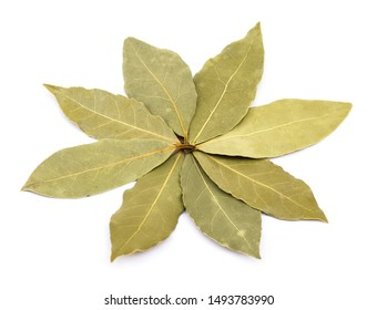 Dried bay laurel leaves in flower shape isolated on white background