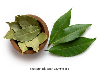 Dried bay leaves in a dark wood bowl next to fresh bay leaves isolated on white from above.