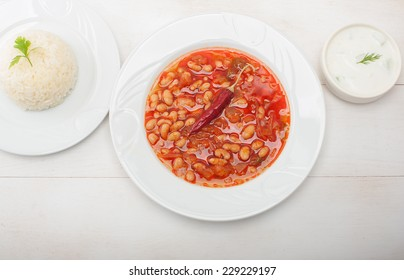 Dried beans, pilaf and tzatziki, (kuru fasulye, pilav and cacik), the most popular Turkish National Meal from above