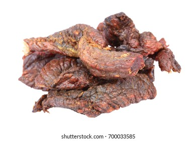 Dried beef on the white background