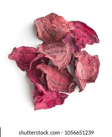 Dried beetroot chips isolated on white background.