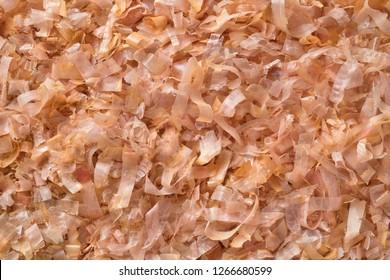 Dried bonito flakes full frame close up
