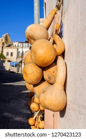 Dried bottle gourd on the wall in Goreme Cappadocia, Calabash gourd, Flowered gourd, White flowered gourd Lagenaria.