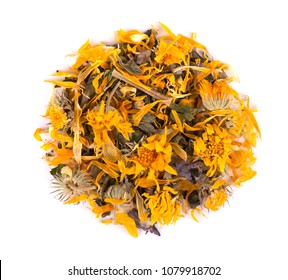 Dried calendula flowers isolated on white background. Top view