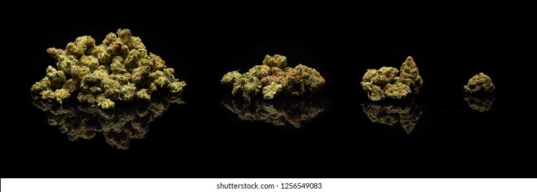 Dried Cannabis Piles in Standard Weight Incraments - 1 Ounce (oz), 1/4 Ounce (quarter), 1/8 Ounce (eighth), Gram (g) marijuana on black background.