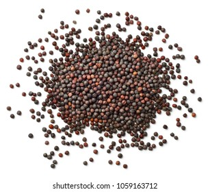 dried canola seeds isolated on white, top view