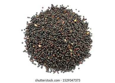 Dried canola seeds isolated on white. Bunch of rape seeds on a white background. View from above. Rapeseed (canola) seeds. Close-up. Collected rapeseed seeds isolated on white background.