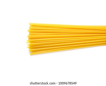 Dried capellini spaghetti isolated on white background