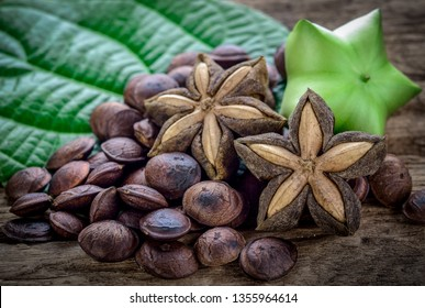 dried capsule seeds fruit of sacha-Inchi peanut on wooden table