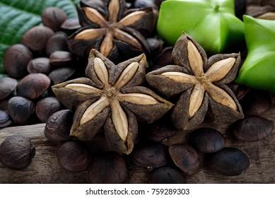 dried capsule seeds fruit of sacha-Inchi peanut on wooden