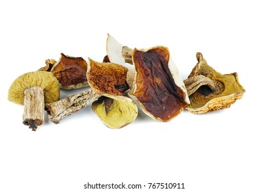 Dried cepe mushrooms isolated on the white background