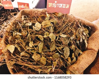 Dried Chamaemelum nobile or Chamomil in the sack. (Thai language depicted in the photo is its pronunciation of Chaozhou by Thai spelling)