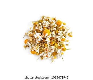 Dried chamomile buttons isolated on white background