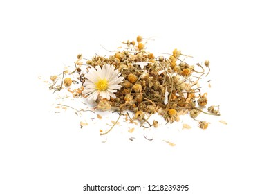 Dried chamomile flowers on white background