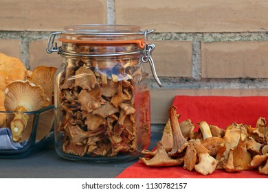 Dried chanterelles, dehydrated chanterelles. Preserved Mushrooms.