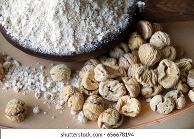 Dried chestnuts and chestnut flour. Product typical of Lunigiana.Tuscany,Italy