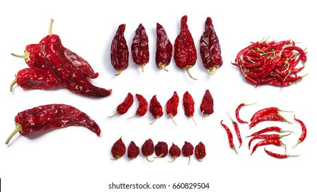 Dried chile peppers: Hot wax, Anaheim,Habanero, Bhut Jolokia, De Arbol. Clipping paths, shadows separated, top view