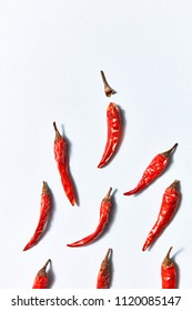 Dried chili peppers isolated on white background