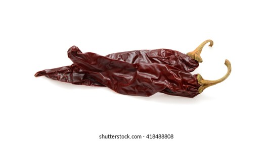 dried chili peppers isolated on a white background